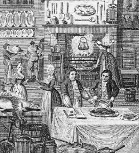Frontispiece from William Augustus Henderson, The Housekeeper's Instructor, 6th edition, c.1800. This same picture appeared in the very first edition of c.1791 and it shows the mistress presenting the cookery book to her servant, while a young man is instructed in the art of carving with the aid of another book.